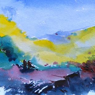 Landscape 06 by Raj Kr Singh, Impressionism Painting, Watercolor on Paper, Cyan color