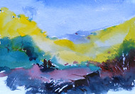 Landscape 06 by Raj Kr Singh, Impressionism Painting, Watercolor on Paper, Cyan color