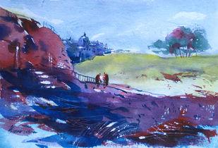 Landscape 07 by Raj Kr Singh, Impressionism Painting, Watercolor on Paper, Blue color