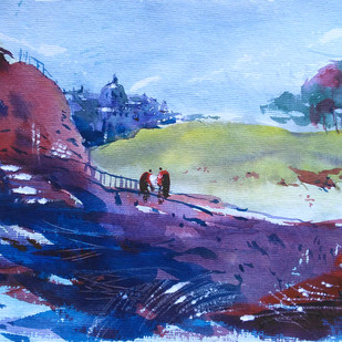 Landscape 07 by Raj Kr Singh, Impressionism Painting, Watercolor on Paper, Blue color
