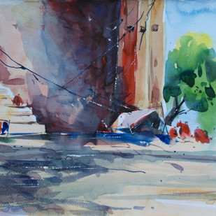 Watecolour 08 by Raj Kr Singh, Impressionism Painting, Watercolor on Paper, Brown color