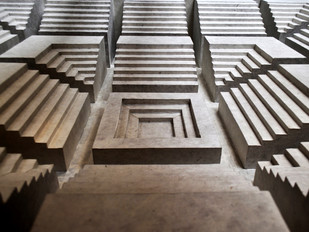Step Well by Debasish Mukherjee, Conceptual Sculpture | 3D, Mixed Media on Wood, Brown color