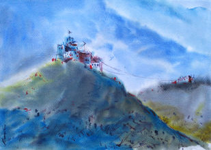 Watercolour 10 by Raj Kr Singh, Impressionism Painting, Watercolor on Paper, Cyan color