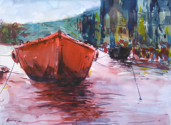 Watercolour 11 by Raj Kr Singh, Impressionism Painting, Watercolor on Paper, Pink color