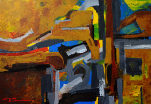 Composition 46 by Ganapathy Subramaniam, Abstract Painting, Acrylic on Canvas, Brown color