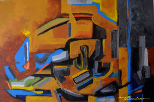 Composition 47 by Ganapathy Subramaniam, Abstract Painting, Acrylic on Canvas, Brown color