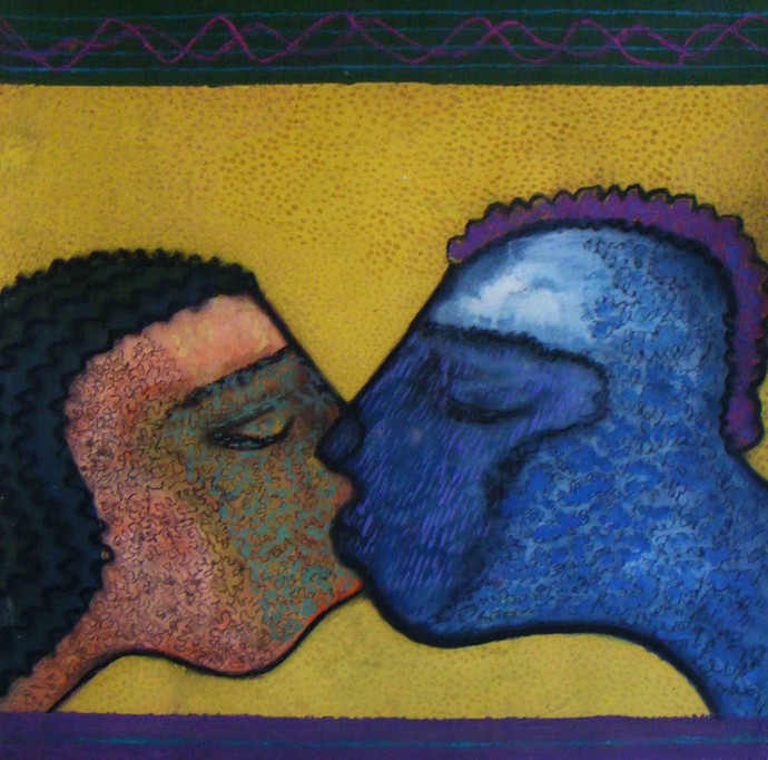 The Kiss by Abhijit Das, Expressionism Painting, Tempera on Board, Blue color