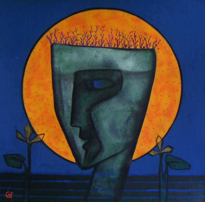 The Male by Abhijit Das, Expressionism Painting, Tempera on Board, Blue color