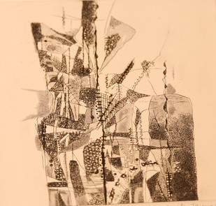 Untitled by Kavita Jaiswal, Expressionism Printmaking, Etching on Paper, Beige color
