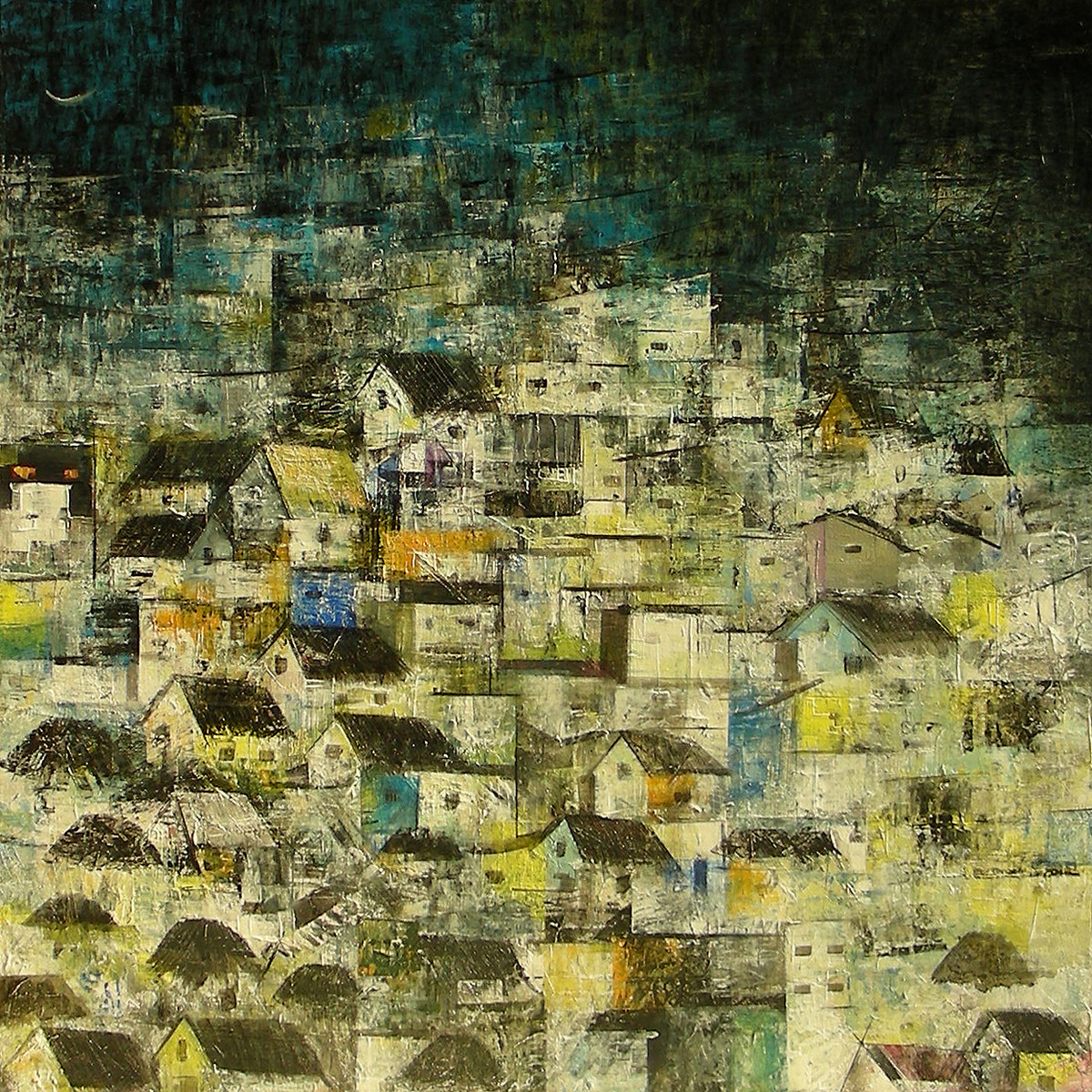 Just Before Night by M Singh, Impressionism Painting, Acrylic on Canvas, Beige color
