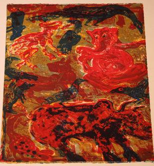 Untitled by Dakoji Devaraj, Impressionism Printmaking, Lithography on Paper, Brown color