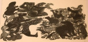 Pranamn by Dakoji Devaraj, Impressionism Printmaking, Etching on Paper, Beige color