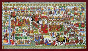 phad painting by Unknown Artist, Traditional Painting, Stone Colour on Cloth, Brown color