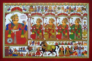 phad painting by Unknown Artist, Traditional Painting, Acrylic on Canvas, Brown color