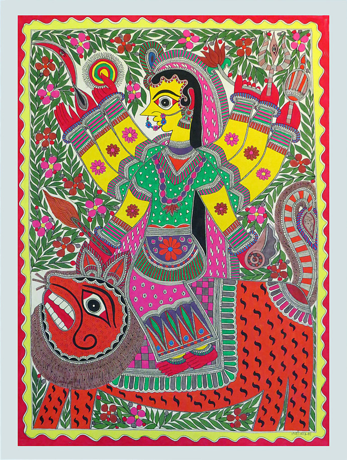 Madhubani painting by Unknown Artist, Traditional Painting, Acrylic on Paper, Brown color