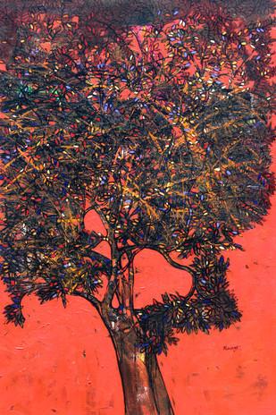 tree of life by Bhaskara Rao Botcha, Impressionism Painting, Acrylic on Canvas, Green color