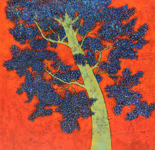 tree of life by Bhaskar Rao, Impressionism Painting, Acrylic on Canvas, Green color