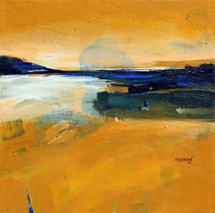 landscape by Bhaskara Rao Botcha, Impressionism Painting, Acrylic on Canvas, Orange color