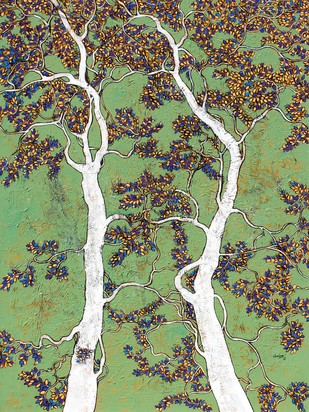 tree of life by Bhaskara Rao Botcha, Impressionism Painting, Acrylic on Canvas, Blue color