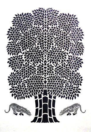 Sanjhi paper cut by Unknown Artist, Traditional Painting, Rice On Paper , Gray color