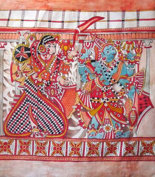 Leather Puppet,Vishnu Parvati by Unknown Artist, Traditional Painting, Mixed Media, Brown color