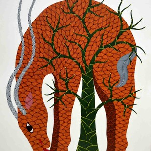 Gond Pinting by Venkat Raman Singh , Tribal Painting, Acrylic on Paper, Brown color