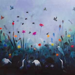 Song of the songs by Priyanka Waghela, Decorative Painting, Acrylic on Canvas, Cyan color