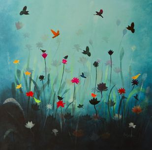 Song of the blue pond by Priyanka Waghela, Decorative Painting, Acrylic on Canvas, Cyan color