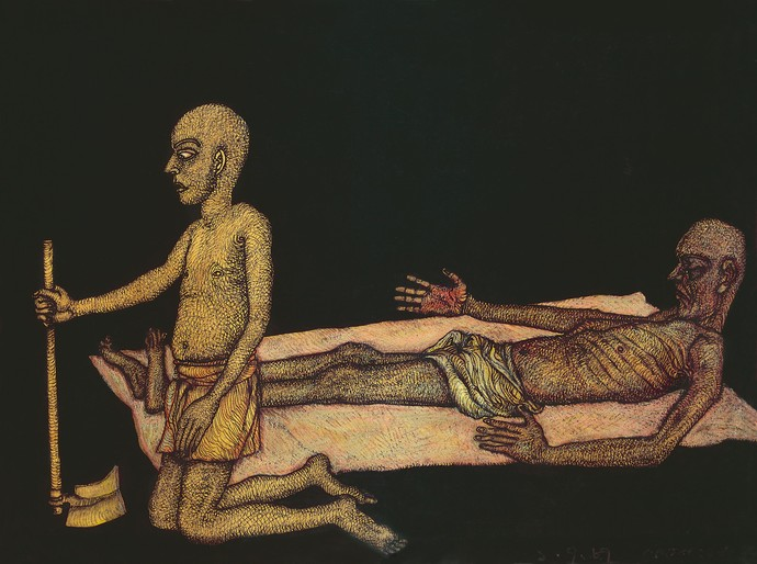 Death of a farmer - Edition of 60 by Jogen Chowdhury, Expressionism Printmaking, Serigraph on Paper, Gray color
