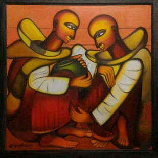 bhikshu 3 by Vineeta Vadhera, Expressionism Painting, Acrylic on Canvas, Brown color