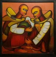 bhikshu 3 by Vineeta Vadhera, Expressionism Painting, Acrylic on Canvas, Brown color