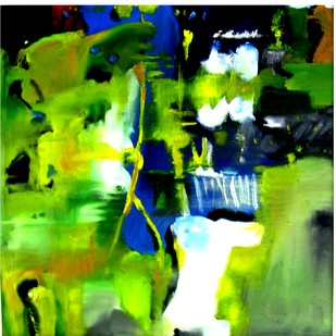 series 3 by Vineeta Vadhera, Abstract Painting, Oil on Canvas, Green color