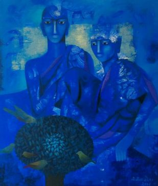 enlightenment by Vineeta Vadhera, Expressionism Painting, Acrylic on Canvas, Blue color