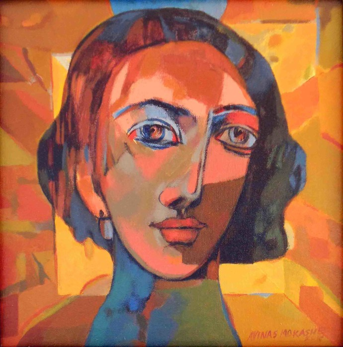 innocent by Avinash Mokashe, Expressionism Painting, Acrylic on Canvas, Brown color