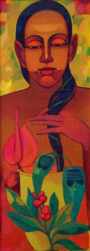 radha by Avinash Mokashe, Expressionism Painting, Acrylic on Board, Brown color
