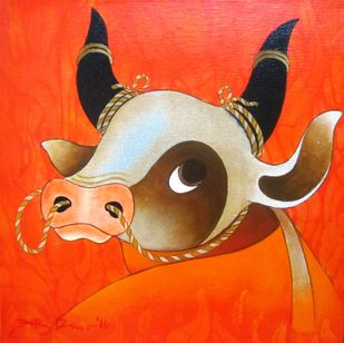Bull IV by H R Das, Decorative Painting, Acrylic on Canvas, Orange color