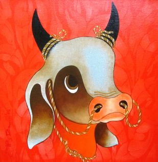 Bull VI by H R Das, Decorative Painting, Acrylic on Canvas, Red color