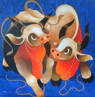 Love by H R Das, Decorative Painting, Acrylic on Canvas, Blue color