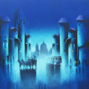 Blue Night by Somnath Bothe, Impressionism Painting, Acrylic on Canvas, Blue color