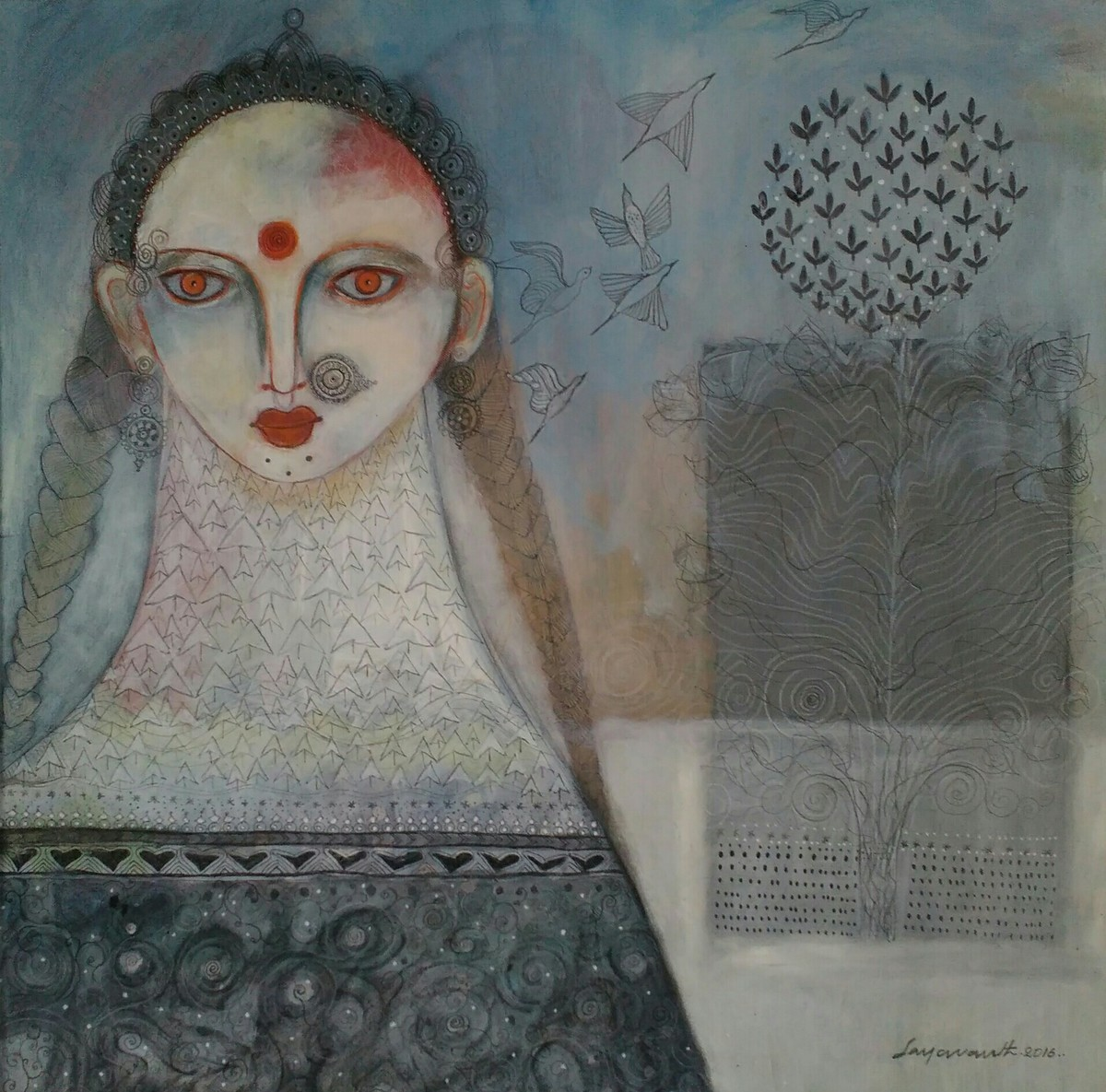 Roots and wings 5 by Jayavanth Shettigar, Expressionism Painting, Acrylic on Canvas, Gray color
