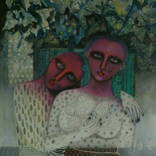 Couple by Jayavanth Shettigar, Expressionism Painting, Acrylic on Canvas, Green color