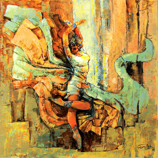 Hostel life (the expression of love) by gurdish pannu, Expressionism Painting, Acrylic on Canvas, Brown color