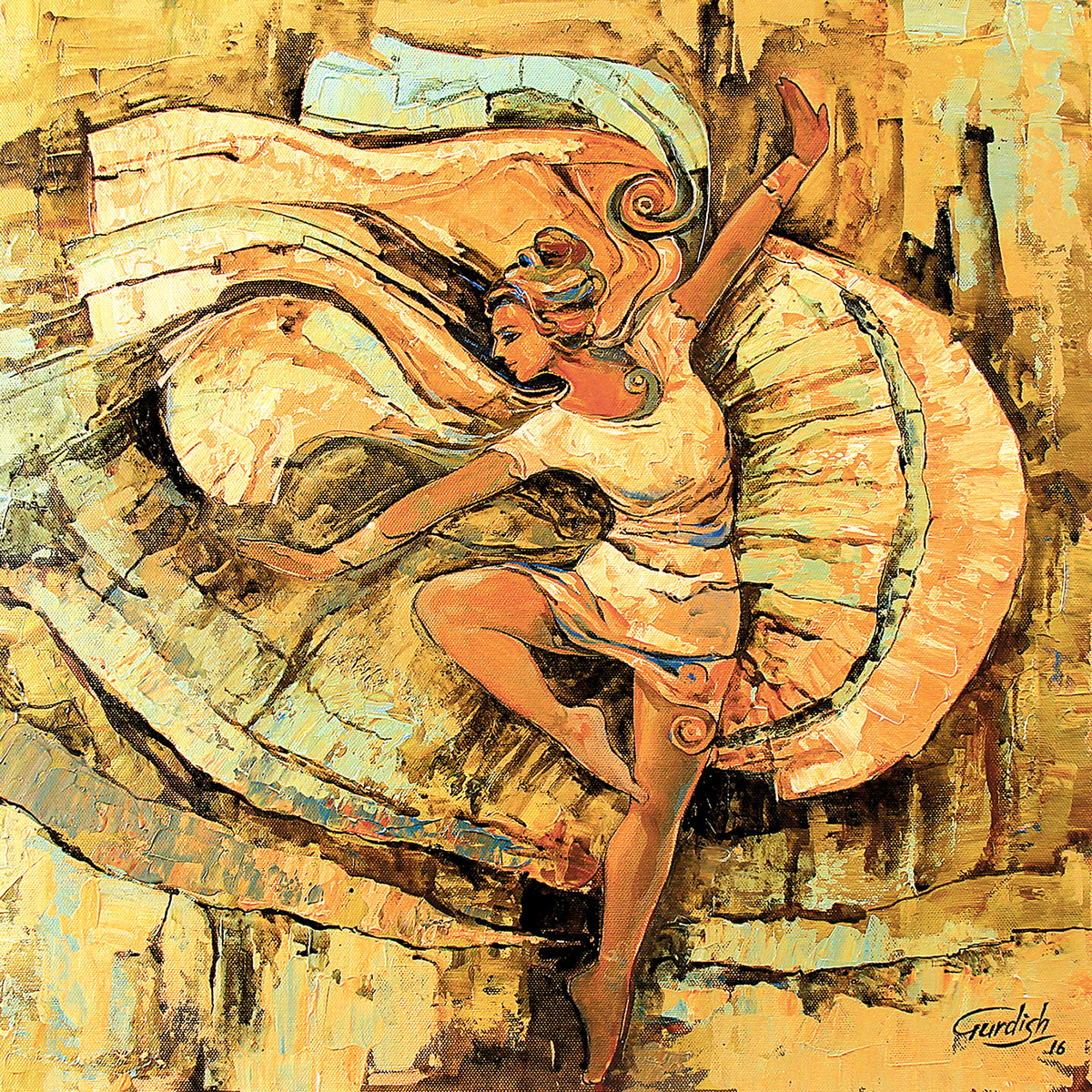 Hostel life(The dance -sensibility or a loving heart ) by gurdish pannu, Expressionism Painting, Acrylic on Canvas, Brown color