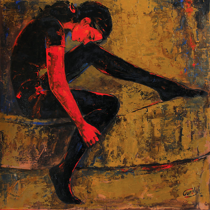 Hostel life (Maybe true love) by gurdish pannu, Expressionism Painting, Acrylic on Canvas, Brown color