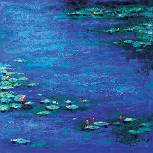 The fearless journey by gurdish pannu, Expressionism Painting, Acrylic on Canvas, Blue color