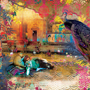 GANGA GHAAT-2 by Priyanka Kaushal, Digital Digital Art, Digital Print on Canvas, Brown color