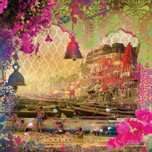 GANGAA GHAT-1 by Priyanka Kaushal, Digital Digital Art, Digital Print on Canvas, Brown color