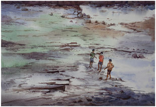 The Konkan Coast by Sameer Mahadev Bhise, Impressionism Painting, Watercolor on Paper, Gray color