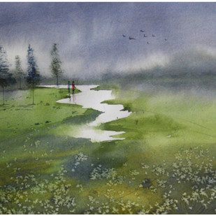 Ever Green by Sameer Mahadev Bhise, Impressionism Painting, Watercolor on Paper, Green color
