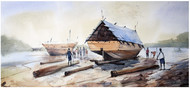Dapoli Beach by Sameer Mahadev Bhise, Impressionism Painting, Watercolor on Paper, Gray color